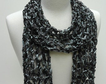 Hand Knit Scarf-  Black/Silver Metallic/ Gray