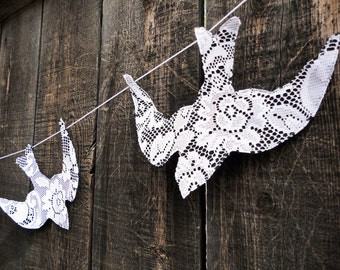 lace birds wedding garland - black and white