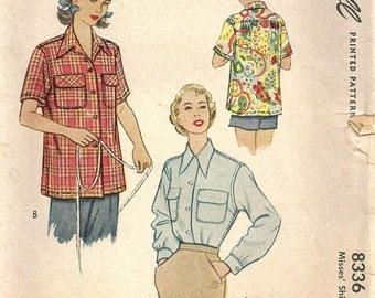 Vintage 50s Sewing Pattern McCall 8336 // Shirt Size 14