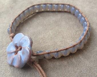 Beaded Wrap Bracelet Denim Blue Czech Beads on Light Brown Cotton Cord
