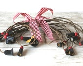 Noma Cloth covered Christmas Tree Light Cord Red Wood Beads