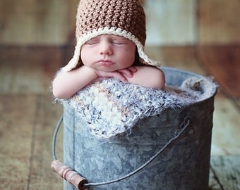 Baby Hat, Newborn Hat, Newborn Baby Earflap Hat, Photography Prop,Light Taupe and Ecru or Choose your own colors