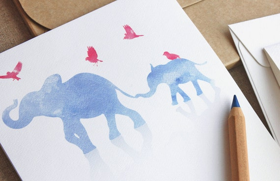 Big and Small Elephant Invitation Set - 10 Pack - Watercolour print in blue and pink