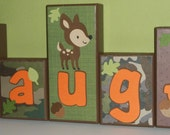 Personalized Name Wood Blocks - Camo / Forest Friends / Hunter Orange - Camo Baby Bedding - Baby Room Custom Letters - Baby Letter Blocks
