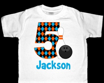 Personalized Birthday Bowling Shirt or Bodysuit - Personalized with ANY name and age