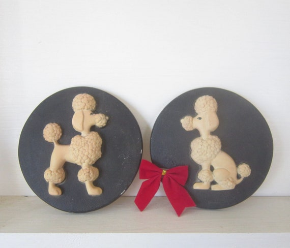 Snooty Poodles chalkware dogs wall hangings