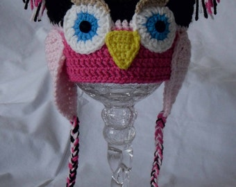Crochet Owl Hat with Ear Flaps