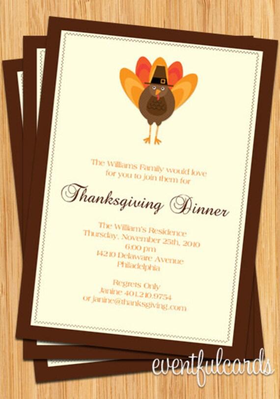 Customizable Thanksgiving Turkey Dinner Party Invitation - Printable