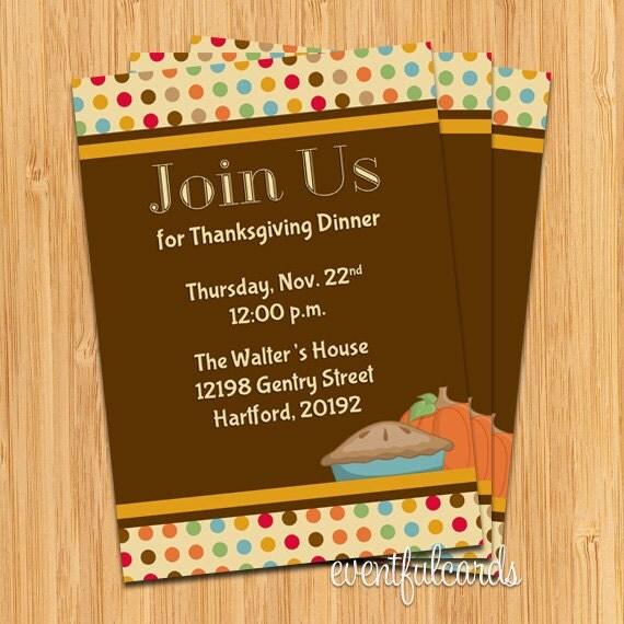 Thanksgiving Turkey Dinner Party Invitation - Printable