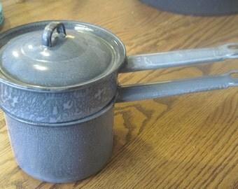Vintage Grey Graniteware double boiler with lid