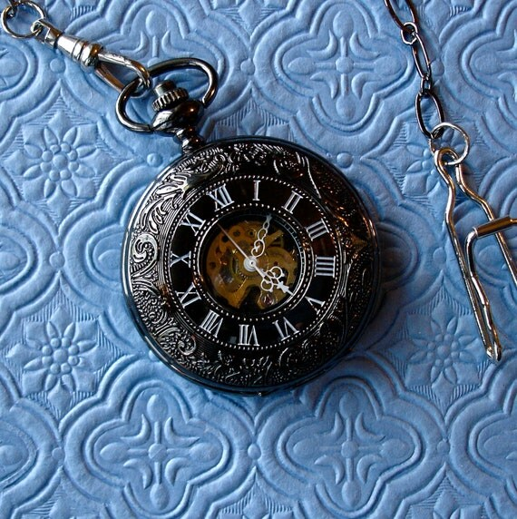 Pocket Watch - Black, Silver Gothic Numerals on Face, Hand Wound, Mechanical  Movement on open Steampunk Back, Groomsman gift