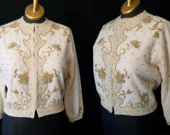"Gorgeous 1950's Cream Lambs Wool & Angora Hand Beaded Cardigan by ""Miss Boutique California"" Vintage Pinup Rockabilly VLV  Size Medium-Large"