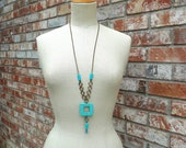 Strand Necklace, Turquoise Natural Square Gemstone with Chainmaille Circle Hoops Long Necklace