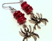 Ready to ship Coral Red Shell Earrings  with Spider Charms Halloween Fun OOAK