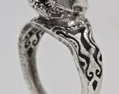 Tiny bat skull ring with filligree band in sterling silver Blue Bayer Design NYC