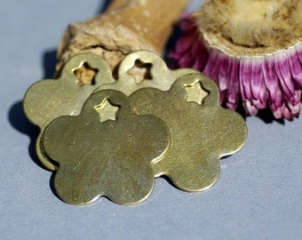 Brass or Bronze Blank Flower with Star 31mm Cutout for Metalworking Stamping Texturing Blanks