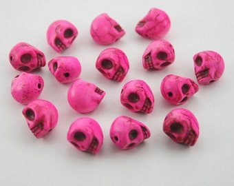 15 pcs Shocking Pink Head Skull Beads Charms Pendants Decorations Findings. SK SP15 SP