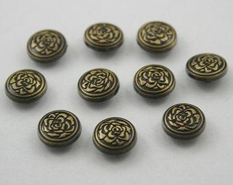 10 pcs.Zinc Vintage Brass Round Roses Rivets Studs Decorations Findings 10 mm. WY10
