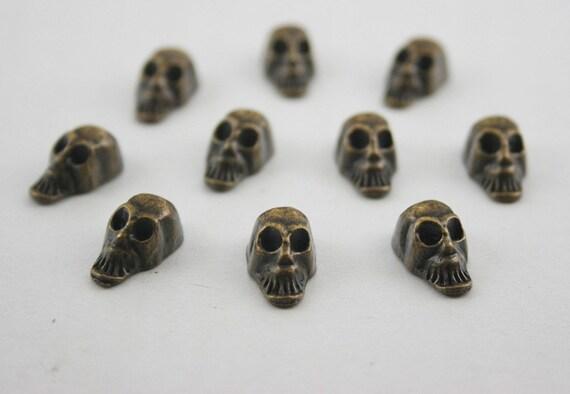 10 pcs.Zinc Antique Brass Skull RIVETS Studs Decorations Findings. WYR SKBR814