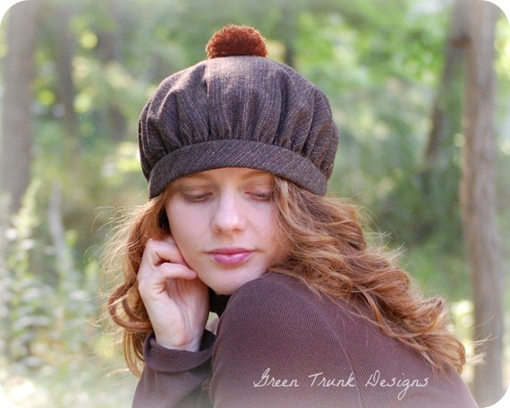 Rustic Beret Hat Brown Wool with PomPom