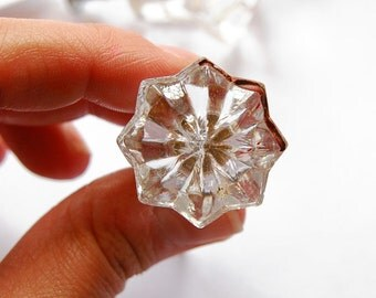 FREE SHIPPING Vintage Antique Glass Star Door Drawer Pull (Single Pull) (ET129) Clear