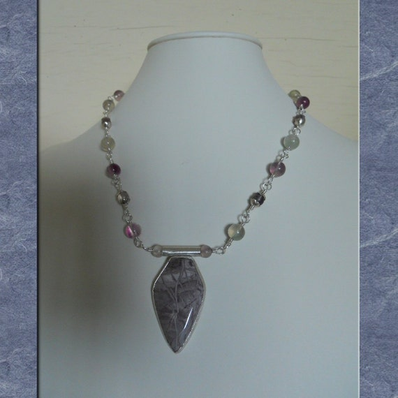 Jasper Pendant Necklace Sterling Silver Purple Willow Creek Statement Rainbow Fluorite Beads Wire Wrapped Strand (M-137)