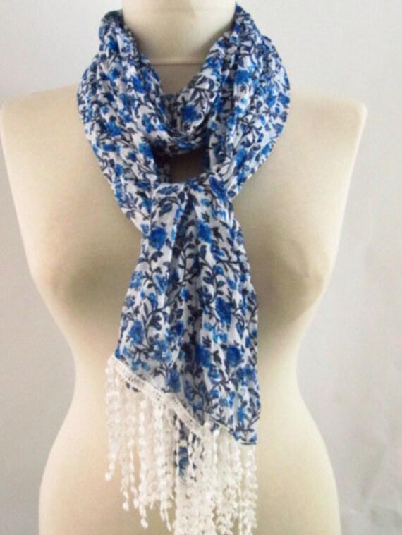 Fabric Rectangle scarf - Guipure  Scarf ..authentic, romantic, elegant, fashion