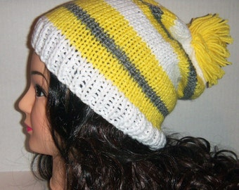 Knitted Slouchy Beanie Pom Pom Hat, Striped Hat, Yellow, White, and Gray Hat