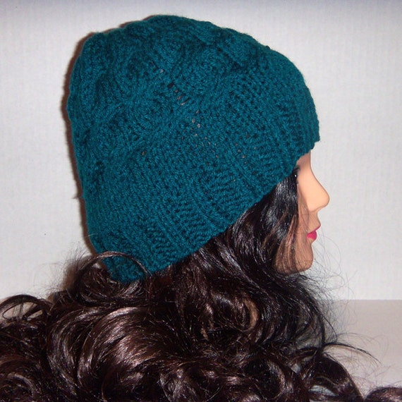 Knitted Beanie cables Turqoise Teal Blue Green Color Black Friday Etsy AND Cyber Monday Etsy