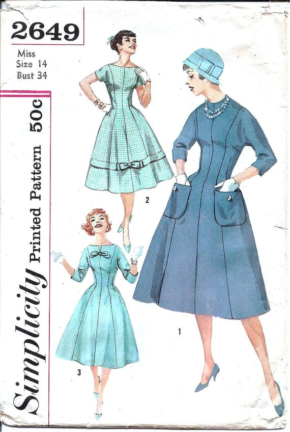 1950s Womens Dress - Simplicity 2649 Vintage Pattern - Bust 34 Size 14 - Princess Seams