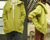 Fruit green loose hooded coat