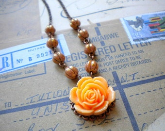 Gift For Mother Flower Necklace Gift For Her Rose Pendant Necklace Fall Jewelry Peach Necklace Romantic Rose Wedding Jewelry
