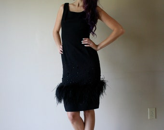 SALE Vintage 50s Dress / Ostrich Feathers and Studs / Wiggle Dress / Sexy Hourglass / Party Dress / Little Black Dress / Holiday Party Vixen