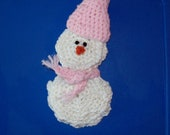 Christmas In July Gift Card Holder Snowman With Pink Hat & Fringed Scarf - amydscrochet