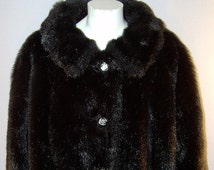 Vintage long jet black faux ranch mink fur coat - 2XL Plus - 22  - Made in Canada - soft and luscious bombshell stroller jacket