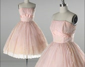 Vintage 1950s Dress . Pink Chiffon . Flocked . Full Skirt . Strapless . Tulle . Bows . XS/S . 1723