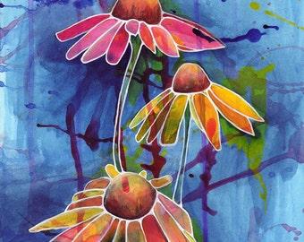 Flower Art Print - Lifting to the Sky - wildflower artwork, floral art, botanical wall art