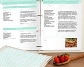 DIY Recipe Book, Printable and Customizable Recipe Pages for Your Recipe Binder, Editable PDF, Mint Green Chevron, Instant Download