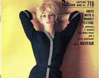 Patons 716 Vintage 60s MOD Knitting patterns booklet for women ORIGINALS not PDF