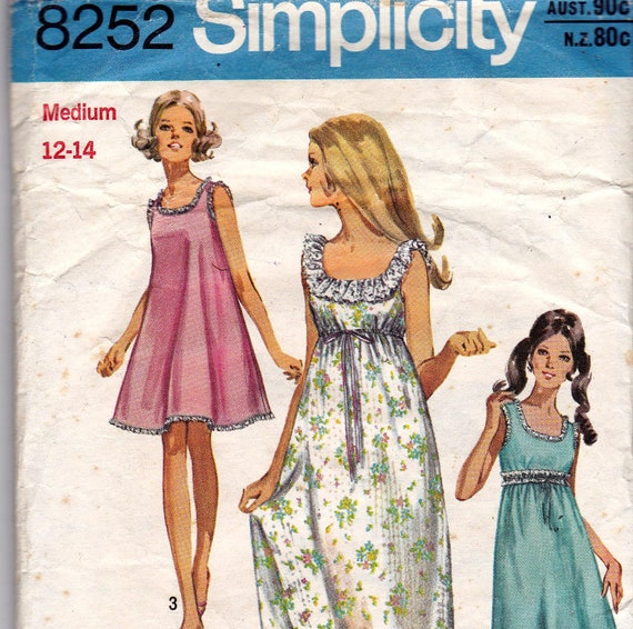 70s Vintage Sewing Pattern  Simplicity 8252 Nightgown Size 12 to 14 Bust 34 to 36