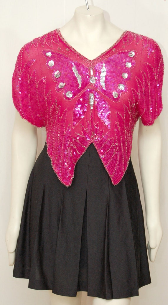 Vintage Pink Sequin Butterfly Top