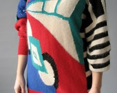 80's Abstract Red Sweater Dress - M