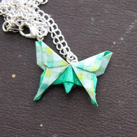 Origami Butterfly Pendant - Green Check