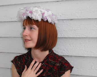 60s Floral Hat White Purple Round Vintage 1960s Easter Spring Fairy