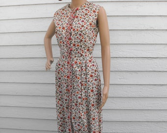 50s Floral Dress Print Sleeveless Vintage 1950s Casual Day M