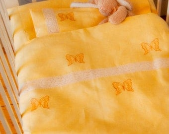 Yellow Linen Baby Bedding Set 3pcs, Baby Bed Linen, Nursery Bedding, HANDMADE, Sheet, Duvet Cover, Pillowcase, Embroidered with Lace