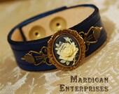 Navy Rose Cameo Bracelet brass on blue leather handmade steampunk lolita