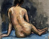 Female Nude, Back. Figure Painting, Realist Oil on Canvas, 6x8 Classic Figure Painting Life Drawing, Signed Original Fine Art