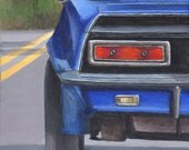 Original Acrylic Painting of a Classic Car- Road Trip Art - Blue Automobile Painted on Wood Panel