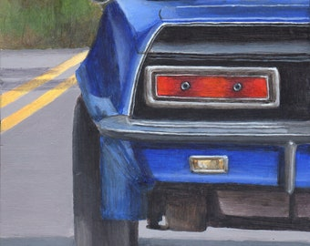Car Painting - Original Acrylic Painting of a Classic Car - Road Trip Blue Automobile Painted on Wood Panel
